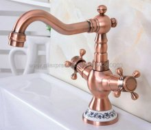 Antique Red Copper Bathroom Basin Sink Faucet Double Handle Single Hole Mixer Tap Deck Mounted Knf615 цена в Москве и Питере