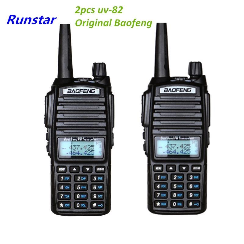 2 pcs PTT Baofeng UV-82 Nouveau UV82 Portable radio 10 km Talkie Walkie Double Professionnel Ham radio communicador uv-82 avec 8 w étiquette