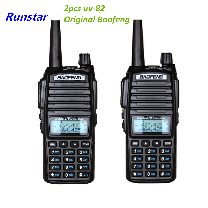 2pcs PTT Baofeng UV 82 New UV82 Portable radio 10KM Walkie Talkie Dual Professional Ham radio communicador uv 82 with 8w label