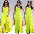 Девушка v шеи вскользь bodycon платье Женщин сторона сплит высокая талия макси платье Лето 2016 длинные сексуальные платья