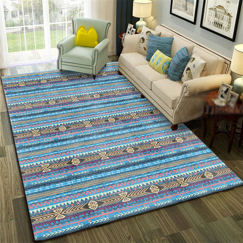 Mediterranean Blue Art Carpet For Living Room Bedroom Anti-slip Floor Mat Geometric Fashion Kitchen Carpet Area Rugs