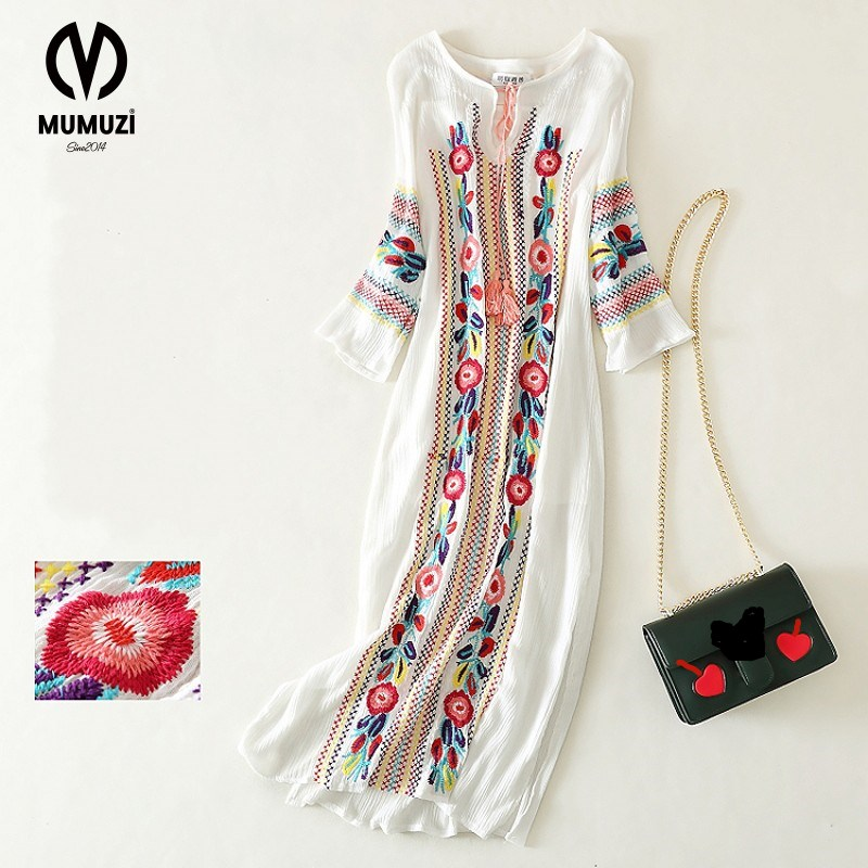 floral 2017 white dresses autumn vintage retro long sleeve maxi sale hippie beach ethnic blue embroidered dress ethnic