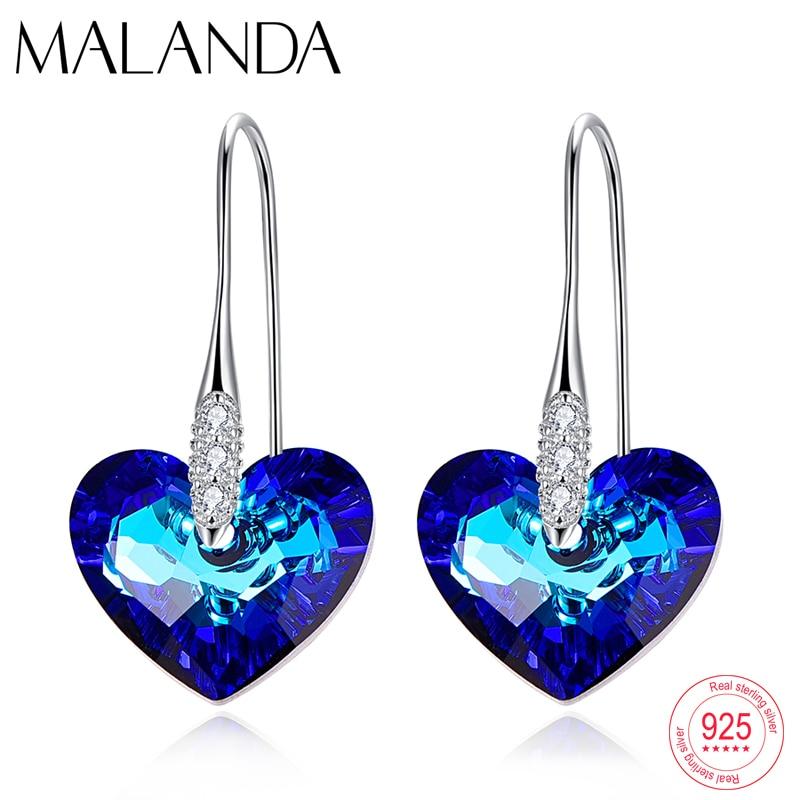 Crystals From Swarovski Love Heart Drop Earrings For Women New Fashion Sterling Silver Piercing Dangle Earrings Jewelry Mom Gift