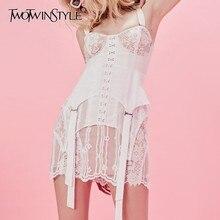 TWOTWINSTYLE – Mini robe en patch de dentelle pour femme, sans manches, taille haute et slim, très tendance, vêtement féminin, nouveau, 2020