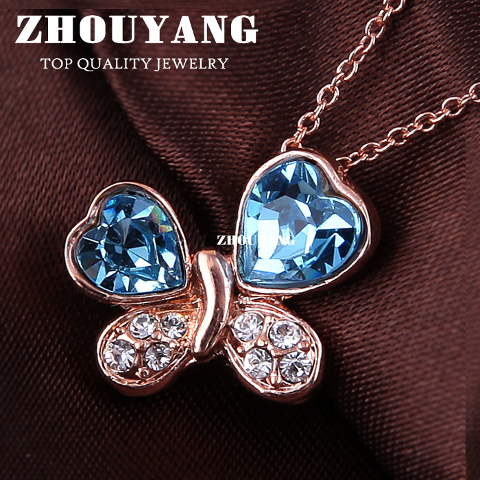 ZHOUYANG Top Quality ZYN185 Blue Butterfly Necklaces Rose Gold