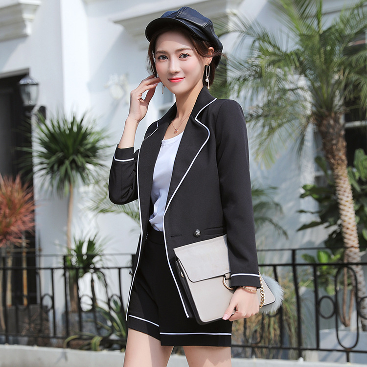 Women's suit Business office suit 2019 casual high quality black blazer female two-piece suit Fashion pants set