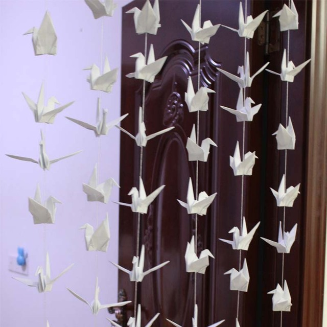 6Set 15cm Handmade White Origami Crane Banners For Wedding Decoration Paper Party Birthday Diy