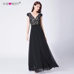 Image 4 - Bonito vestido De noche De encaje largo De 2020 con cuello en V y mangas cortas EP07344BK