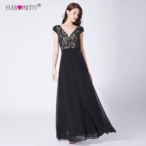Image 4 - אי פעם די Robe De Soiree 2020 ארוך תחרה ערב שמלות אלגנטי קו V צוואר קצר שרוולים שחור צד פורמלי שמלות EP07344BK