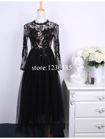 Gorgeous White/Black Sheer Lace Tulle Long Women Dress Sexy O Neck Long Sleeves Sequins Ball Gown Vestidos De Festa 62444