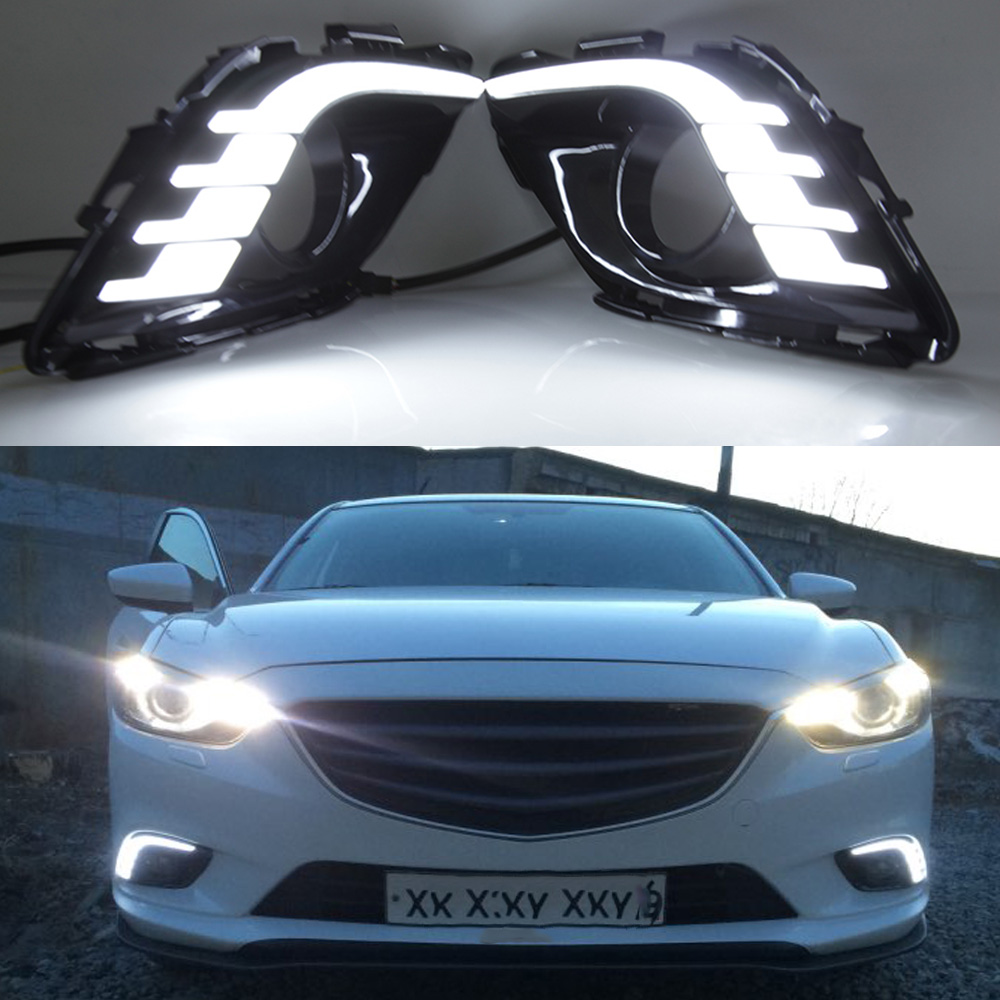 Автомобильные мигающие DRL для Mazda 6 Mazda6 Atenza 2013 2014 2015 светодиодный дневные ходовые огни, дневной свет, противотуманные фары, 1 комплект
