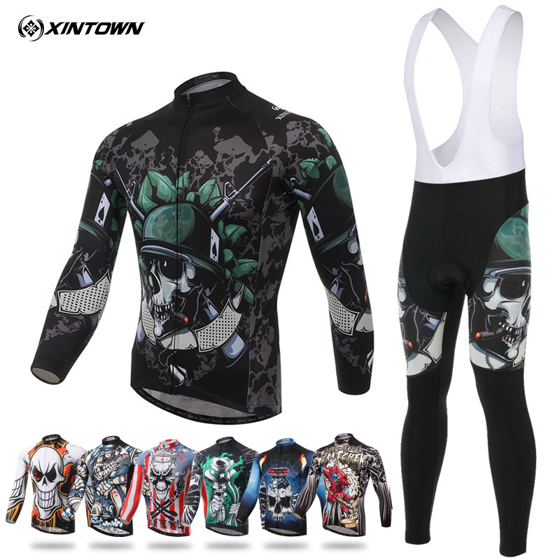 XINTOWN Clothing Set Skull Soldier 2017 Autumn Full Sleeve Jersey Long Pants Cycling MTB Riding Sport Suits bicicleta Ciclismo