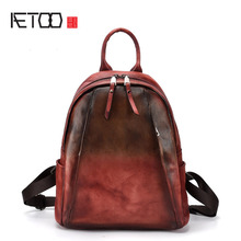 AETOO Vintage hand-brushed female bag tree high leather portable practical backpack personality shoulder bag first layer leather цена