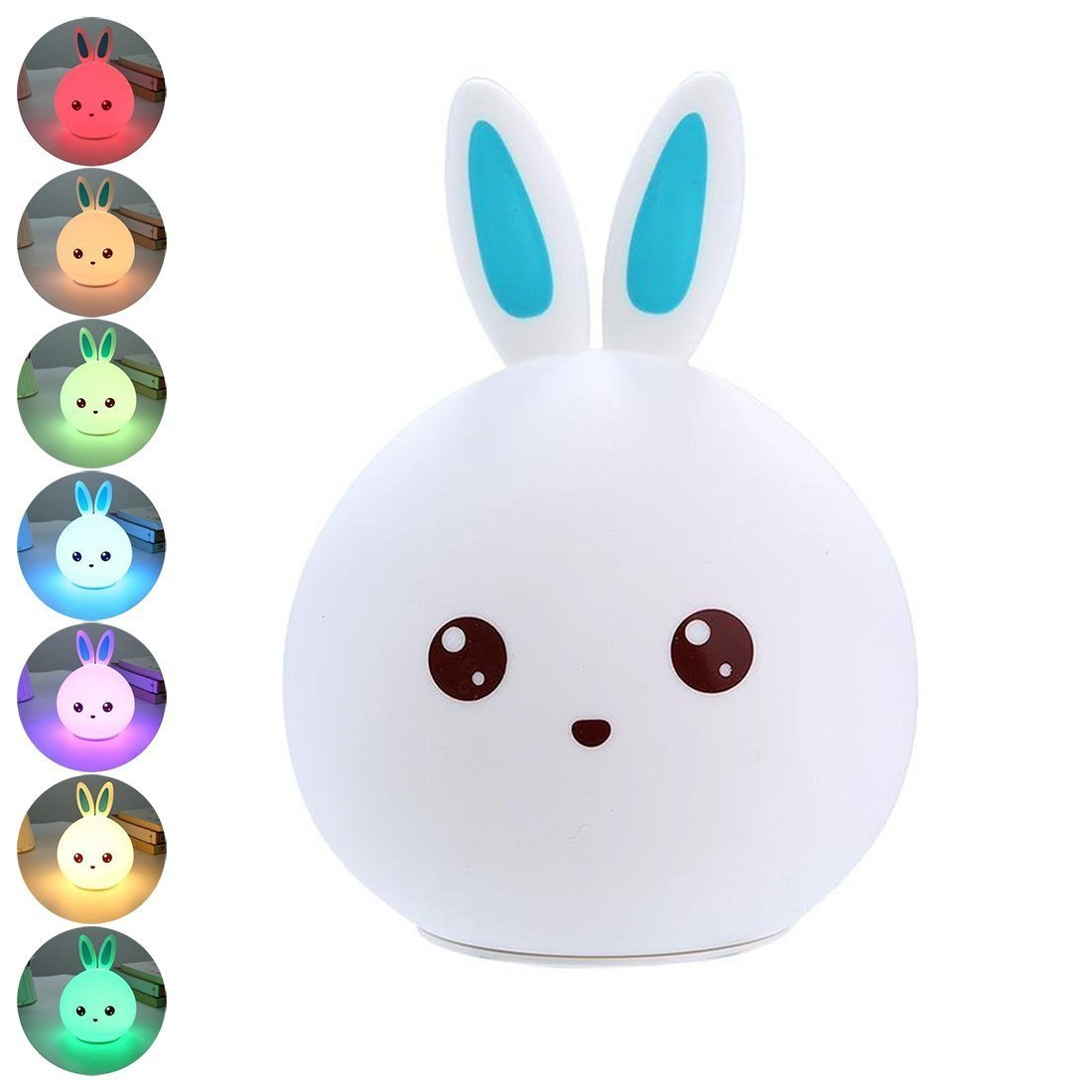 LED Silicone Rabbit Night Light Cute Soft Multicolor Touch Sensor Tap Control Baby USB Rechargeable Nursery Lamp Kid Bedside Toy