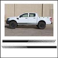2 PC Gradiente tarja lado gráfico Vinyl sticker para Ford ranger 2012 2013 2014 2015 2016 adesivo