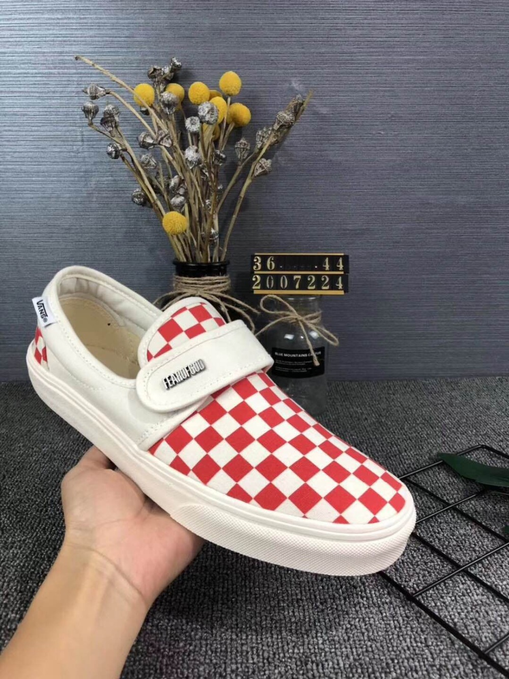 1d60f1b9bf1c Vans Slip-On 47 DX Classic Men and Womens white red grid Sneakers canvas  shoes