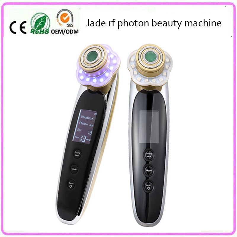 Mini Jade RF Radio Frequency 3 Color Led Light Photon Therapy Skin Rejuvenation Tightening Face Lifting Whitening Beauty Machine rechargeable rf radio frequency skin tightening ems face lift led photon skin rejuvenation beauty device free shipping