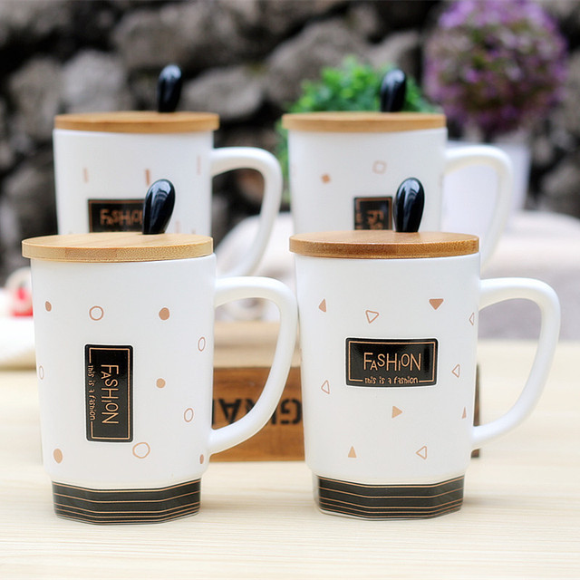 8d4d5e058cd Creative new wooden cover ceramic cup life style fashion cup black and white  milk coffee mug student gifts home outdoor