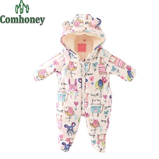 Mamelucos Del Bebé recién nacido Fleece Con Capucha Mono Infantil Cartoon Graffiti Bebes Boy Girl Snowsuit Niño Abrigo de Invierno Espesar Outwear