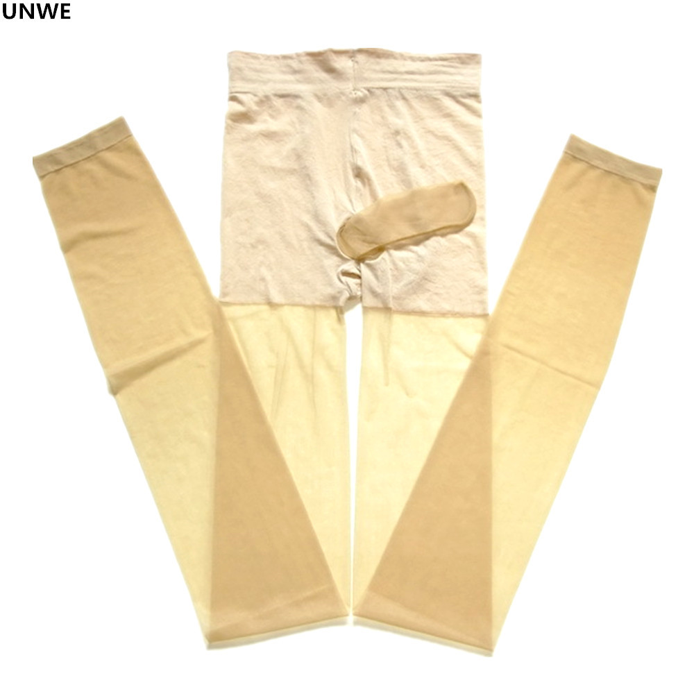UNWE Sexy Pantyhose Lingerie Tight Hosiery Sissy Transparent Penis-Pouch Men for Perspective