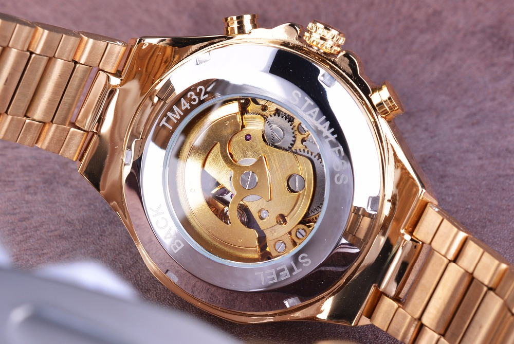 Winner New Number Sport Design Bezel Golden Watch Mens Watches Top Brand Luxury Montre Homme Clock Men Automatic Skeleton Watch 6