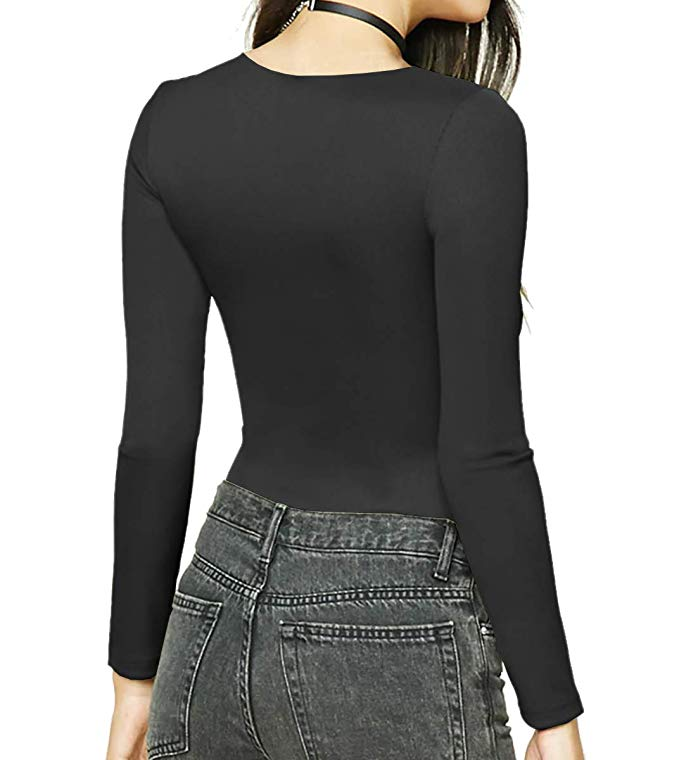 Women Sexy O-Neck Cotton Bodysuit Long Sleeve Autumn Clothing Wear Sexy Slim Short Cotton Knitted Bodycon Bandage Jumpsuit 2
