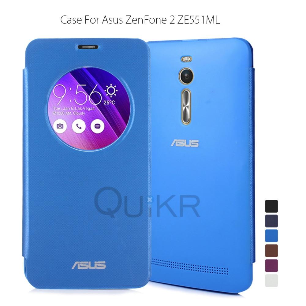 new arrival 88351 cc6e6 US $2.19 |Circle View Flip Cover for Asus Zenfone 2 ZE551ML ZE550ML 5.5