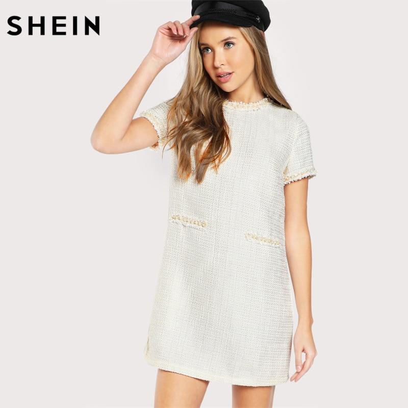 SHEIN Pearl Beading Tweed Dress Autumn Elegant Straight Dresses White Short Sleeve Zip Back Work Wear Fall Dress