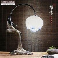 Qiseyuncai новый китайский античный дзен настольная лампа Гостиная Кабинет Спальня украшения настольная лампа прикроватная освещение