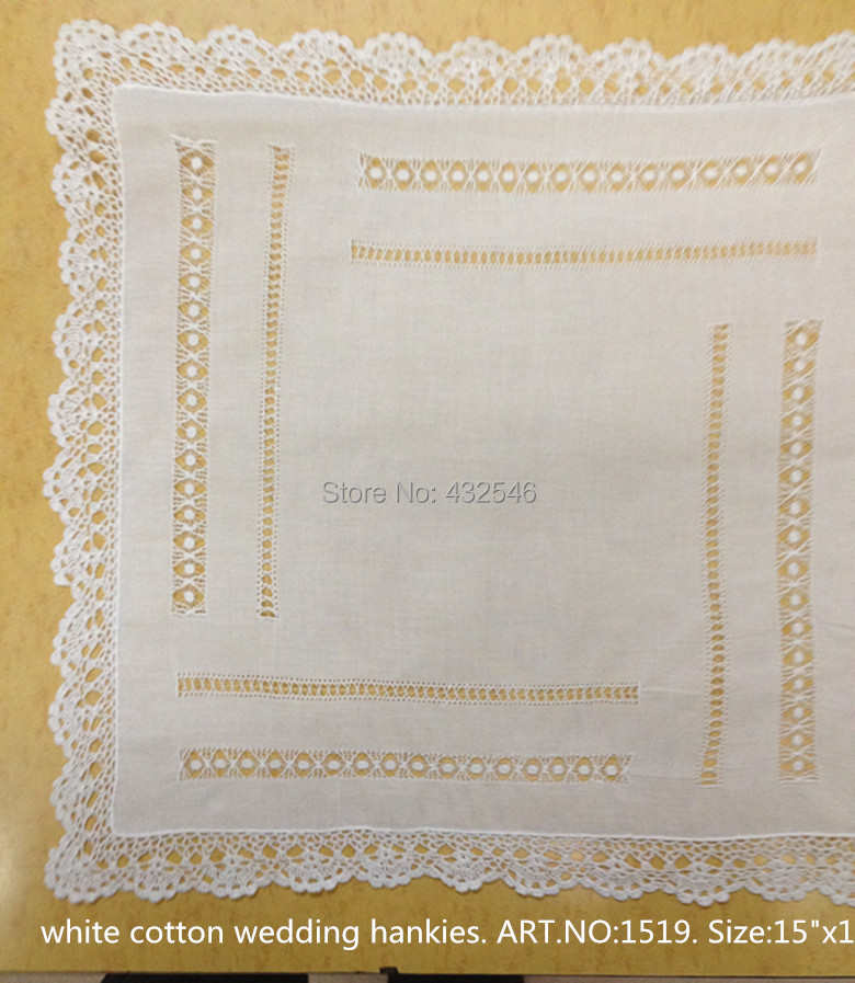 "De las mujeres de la moda pañuelos 4 unids/lote White100 % algodón de las señoras pañuelos 15x15 ""bordado elegante de encaje de ganchillo bordes para novia"