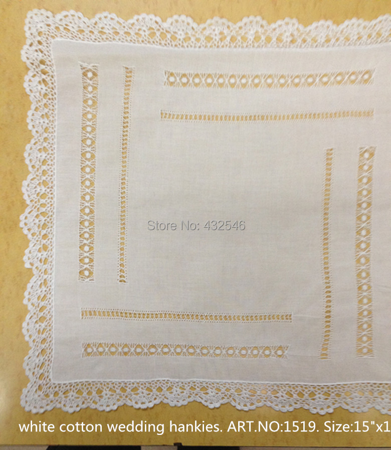 Fashion Women Handkerchiefs 4PCS/lot White100%Cotton Ladies Handkerchiefs 15x15