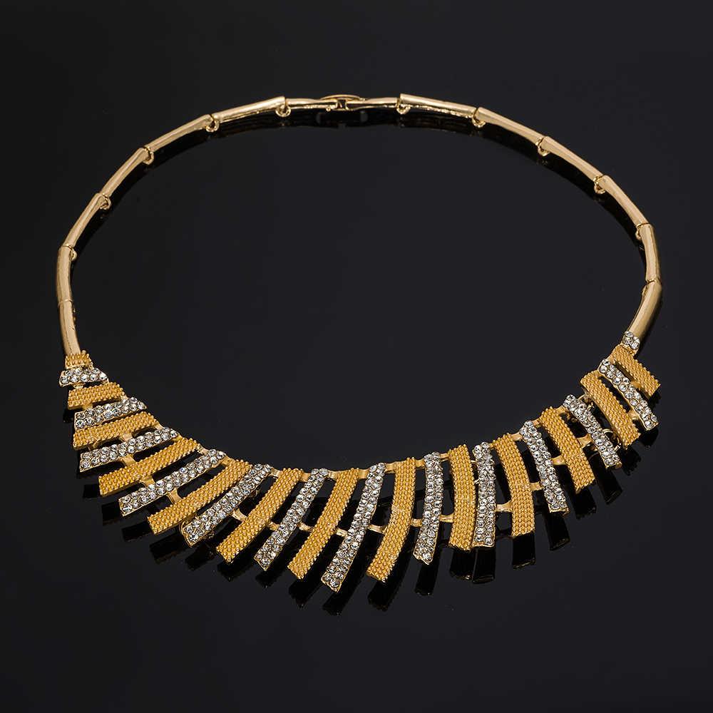 MUKUN ювелирные изделия из золота из Дубаи наборы нигерийские Свадебные африканские Кристальные бусины комплект свадебных украшений со стразами эфиопские ювелирные изделия