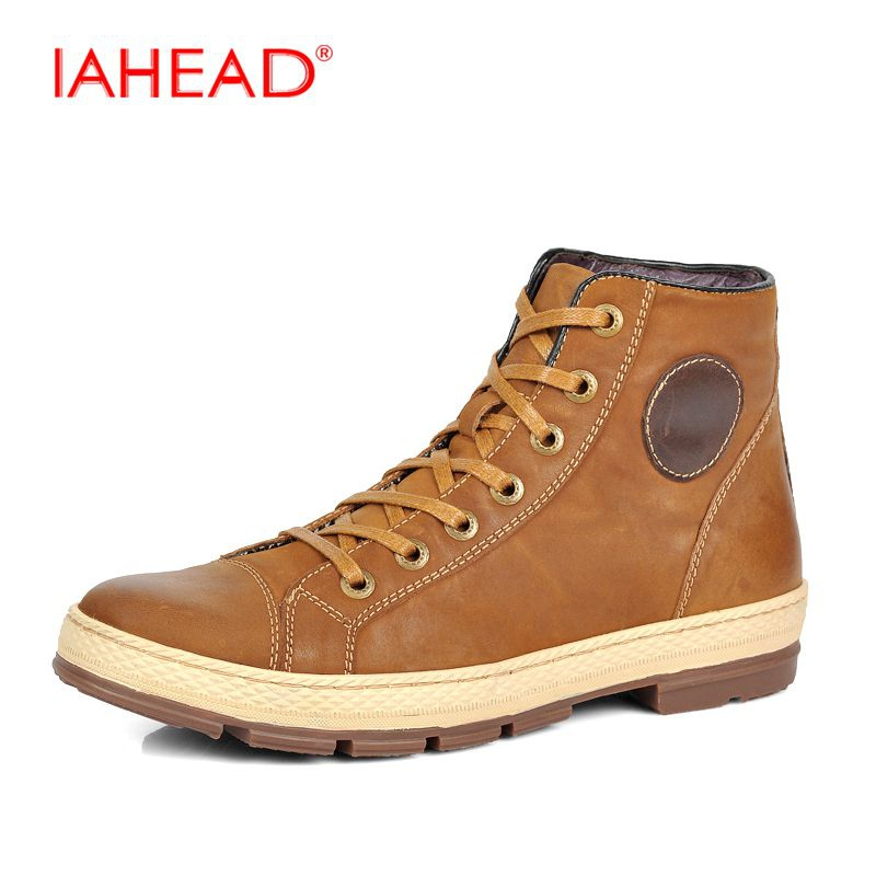 IAHEAD 2017 Genuine Leather High Top Men Shoes High Quality Lace-Up Winter Boots Flats Warm Cowboy Boots Mens Plus Size 46 MH525 fashion pointed toe lace up mens shoes western cowboy boots big yards 46 metal decoration