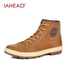 Iahead 2017 натуральная кожа высокие Мужская обувь Высокое качество Кружево на шнуровке зимние сапоги Туфли без каблуков теплые ковбойские ботинки Для мужчин S Plus Размеры 46 MH525