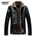 2017 Men's Winter Leather Jacket Casual Fashion Jackets Lapel Black and Brown Zipper Faux Fur Men High Quality Coat 4XL 3XL