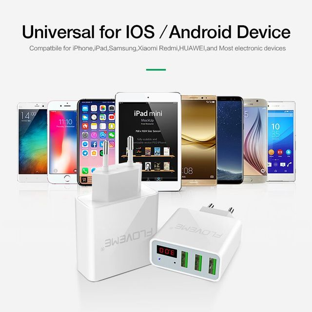 Fireproof Portable 3-Port USB Charger Travel Adapter with LED Display