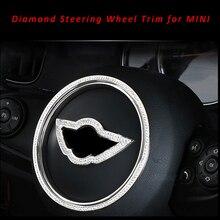 Estilo do carro diamante volante asa emblema emblema decalque guarnição para mini cooper um countryman r54 f55 f56 f60 r55 r56 r60 r61