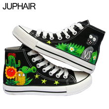 JUP 10 Styles Men Males Plants VS Zombies One Piece Fairy Tail Despicable Me Minion Hand-Painted Canvas Shoes for Boys Girls Kid