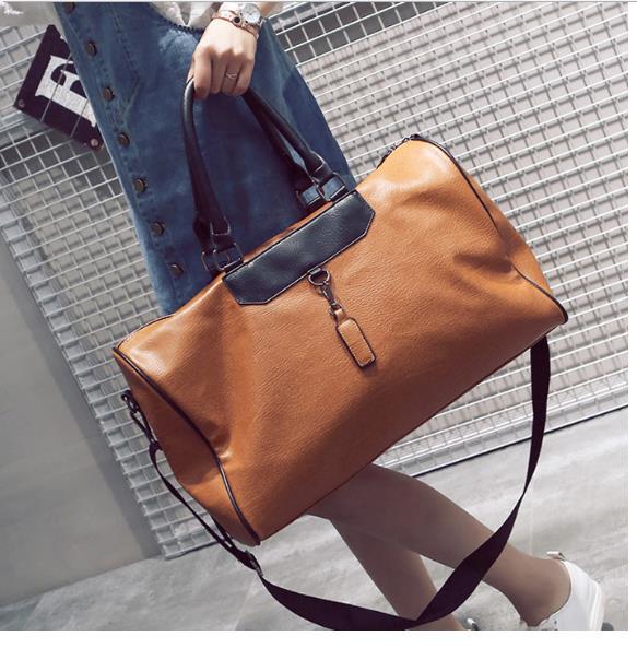 PU Leather Female Travel Bag Waterproof Large-Capacity Women's Tote Portable Weekend Short Travel Luggage Handbag