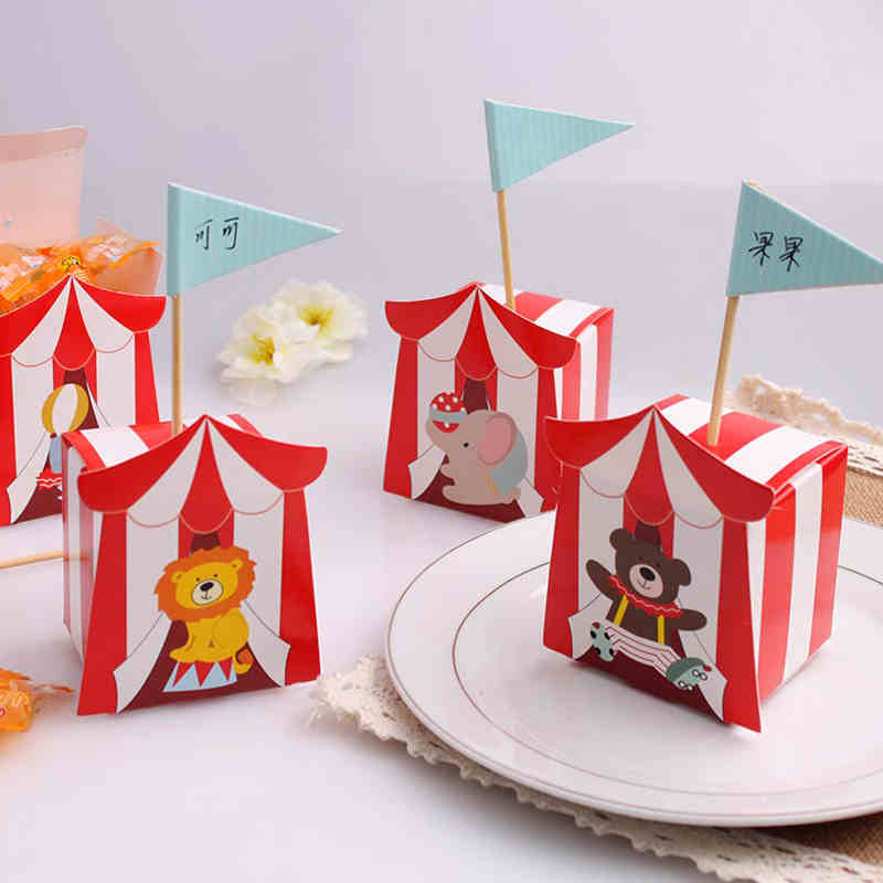 100pcs Big Top Circus Candy Box Small Box For Candy Baby Favor Box gift box ...