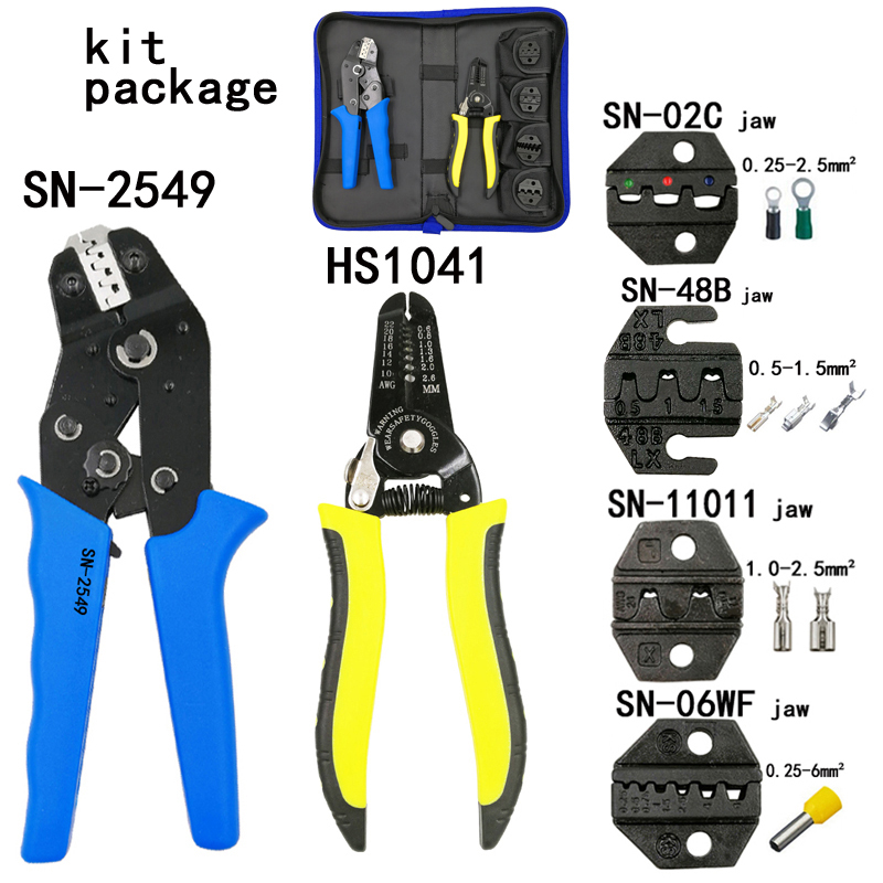 Kit stripping cutting wire pliers 1041 suit tools SN-2549 0.08-1mm2 pliers 4jaw for plug/tube/insulation terminal brand toolsKit stripping cutting wire pliers 1041 suit tools SN-2549 0.08-1mm2 pliers 4jaw for plug/tube/insulation terminal brand tools