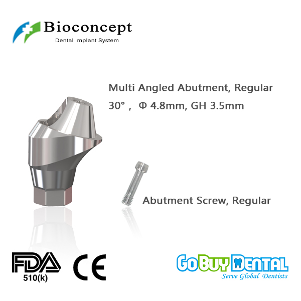 Osstem TSIII&Hiossen ETIII Compatible Hex Regular Multi-angled abutment D4.8mm, Angled 30, gingival height 3.5mm(337160)Osstem TSIII&Hiossen ETIII Compatible Hex Regular Multi-angled abutment D4.8mm, Angled 30, gingival height 3.5mm(337160)