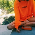 Tumblr novos topos blusa 2017 hitz europeu código no totalmente em Algodão Jogo T-shirt longo Do Pescoço Solto Camisola de Mangas Compridas Casaco Brilhante menina