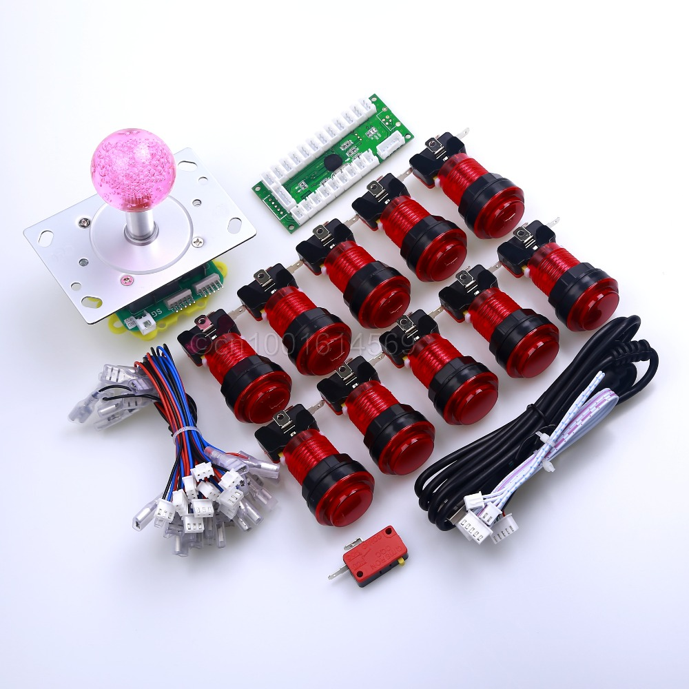 Zero Delay LED Arcade Game DIY Parts USB PC to Joystick Interface 2/4/8 Way LED Illuminated Joystick Push Button Retropie 3B
