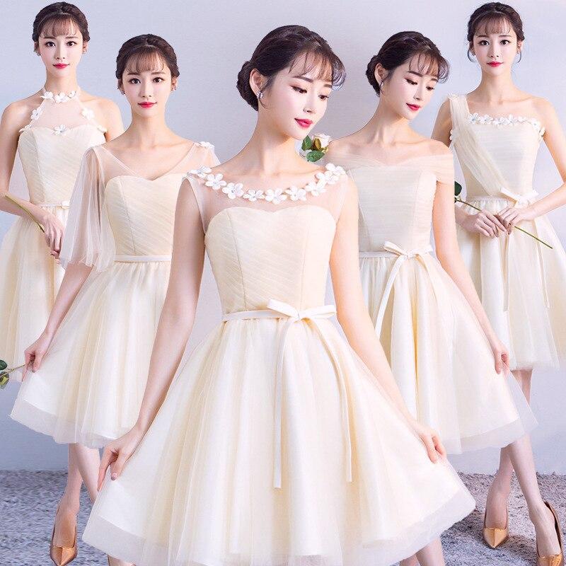 Mingli Tengda Champagne Bridesmaid Dresses Short Boat Neck Off The Shoulder Bridesmaid Dress Wedding Party Guests Dress Cheap