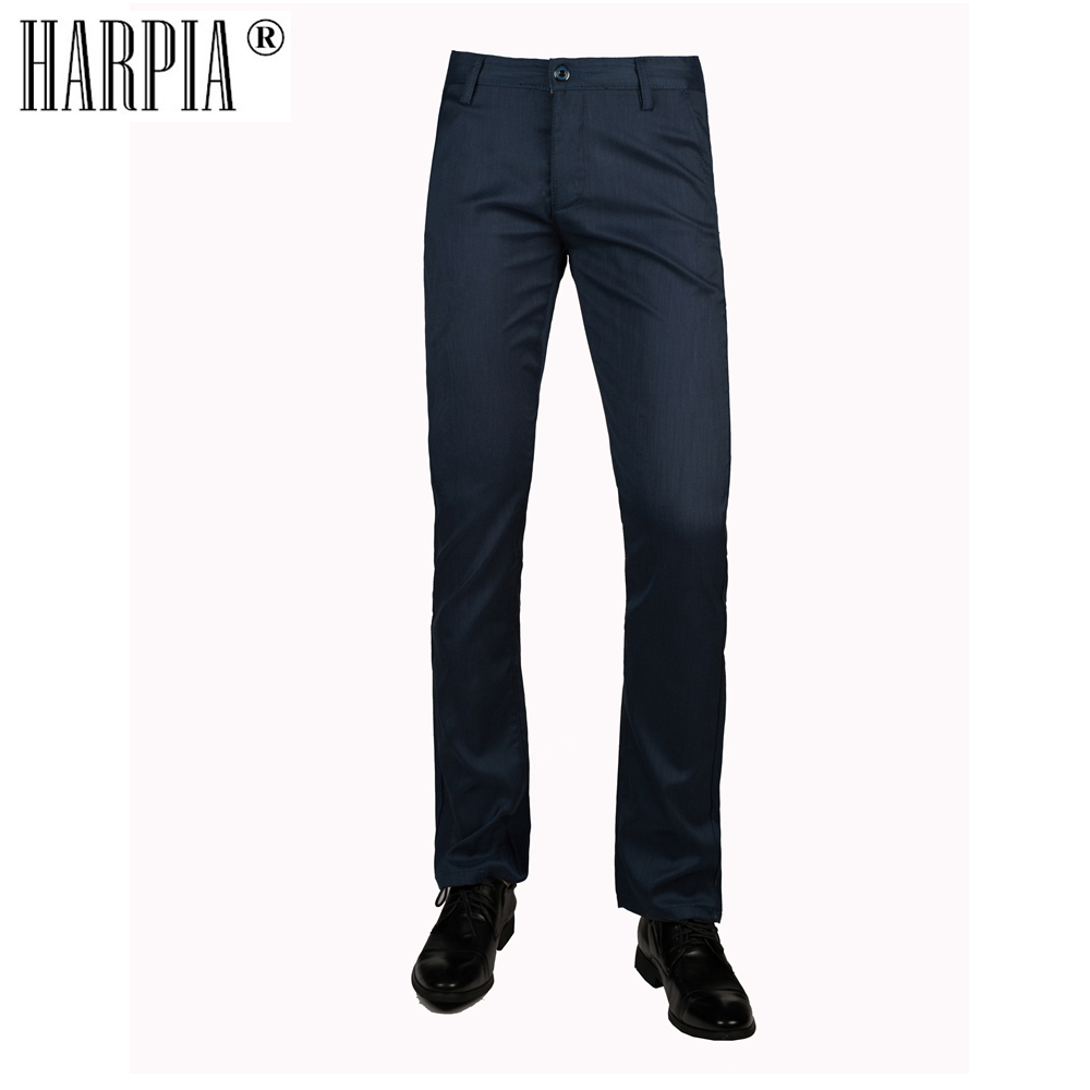 HARPIA Dark Blue Classic Casual Mens Trousers Male Straight Stretch Cotton Slim Pants Mens Summer Autumn Business Suit Pants