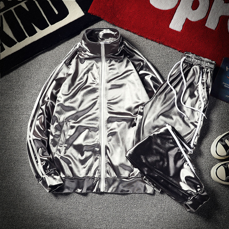 New Men And Women's Two-piece Silk Baseball Uniform Jacket + Long Pants Glossy  Chiffon Set Stylish Smooth Breathable Fabric