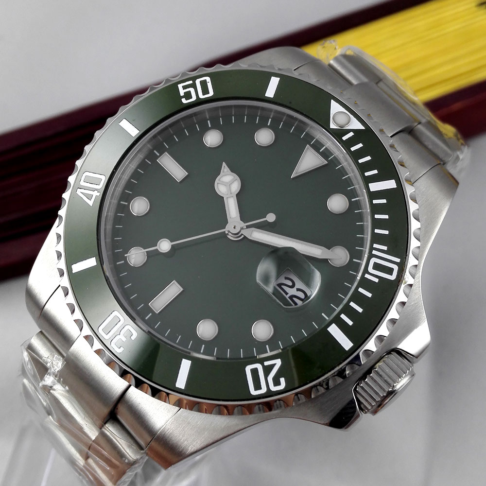 43mm Parnis Green sterile Dial Sapphire Glass ceramic Bezel Luminous Marks Deployment clasp Automatic Movement mens Watch43mm Parnis Green sterile Dial Sapphire Glass ceramic Bezel Luminous Marks Deployment clasp Automatic Movement mens Watch