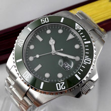 лучшая цена 43mm Parnis Green sterile Dial Sapphire Glass ceramic Bezel Luminous Marks Deployment clasp Automatic Movement men's Watch