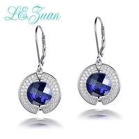 L&zuan anniversary gift 925 Sterling Silver Drop Earrings 9.4ct Blue Stone Romantic Luxury Earring Fine jewelry For Women